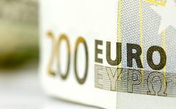 Geld des Euros 200, Makroschuß Stockfotos
