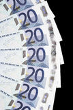 Geld - Detail van 20 het Euro Nota's Stock Foto