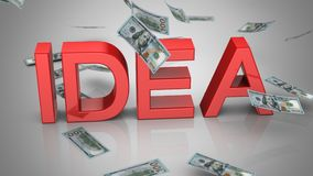Geld die dichtbij het Woord 'Idee 'vallen royalty-vrije illustratie
