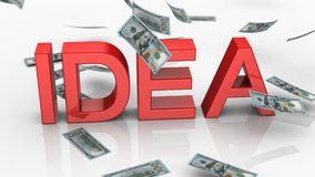 Geld die dichtbij het Woord 'Idee 'vallen vector illustratie