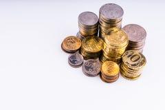 Geld Die Münzen Copecks und Rubel Stockbilder