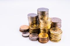 Geld Die Münzen Copecks und Rubel Stockfoto