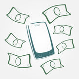 Geld die uit mobiele telefoon vliegen stock illustratie