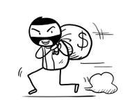 Geld-Diebstahl-Gekritzel Stockfoto