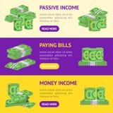 Geld-Dollar-Fahnen-horizontale Satz-Verpackung in den Bündeln Banknoten Vektor Stockfotos
