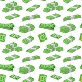 Geld-Dollar-Verpackung in den Bündeln des Banknoten-Hintergrund-Musters auf einem Weiß Vektor Stockbild