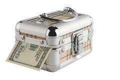 Geld in een doos op een witte achtergrond. Royalty-vrije Stock Foto