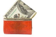Geld in een geïsoleerdei portefeuille. Stock Afbeelding