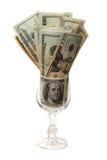 Geld in een glas royalty-vrije stock afbeelding