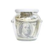 Geld in een glaskruik Royalty-vrije Stock Foto