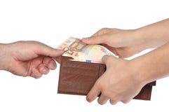 Geld in een portefeuille Stock Foto's