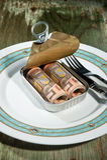 Geld in een tinblik. Stock Afbeeldingen
