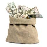 Geld in een zak op een witte achtergrond Stock Afbeelding