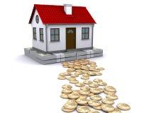 Geld - eine beständige Grundlage für Haus Stockbild