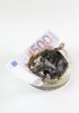 Geld in einem Aschenbecher brennt Stockfoto