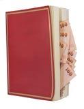 Geld in einem Buch, lokalisiert auf weißem Hintergrund stockbild