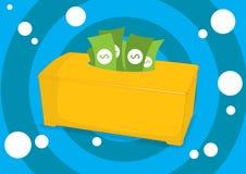 Geld in einem Gewebekasten Stockfotos