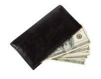 Geld in einem ledernen Fonds Lizenzfreies Stockbild
