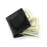 Geld in einer schwarzen Mappe Lizenzfreie Stockbilder