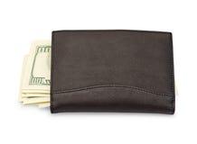 Geld in einer schwarzen Mappe Lizenzfreies Stockbild