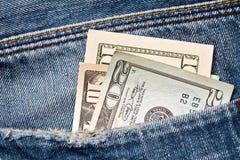 Geld in einer Tasche Lizenzfreies Stockbild