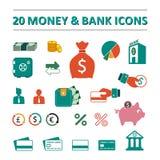 20 geld en bank geplaatste pictogrammen Royalty-vrije Stock Foto's