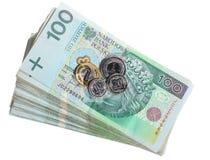 Geld en besparingen. De stapel van 100's poetst zloty bankbiljetten op Stock Foto