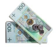 Geld en besparingen. De stapel van 100's poetst zloty bankbiljetten op Royalty-vrije Stock Afbeelding