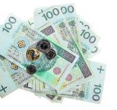 Geld en besparingen. De stapel van 100's poetst zloty bankbiljetten op Royalty-vrije Stock Foto