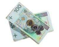 Geld en besparingen De stapel van 100's poetst zloty bankbiljetten op Stock Foto's