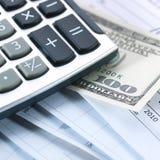 Geld en calculator royalty-vrije stock foto's