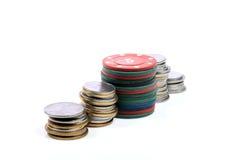 Geld en casinospaanders Royalty-vrije Stock Fotografie