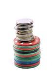 Geld en casinospaanders Stock Afbeelding