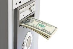 Geld en computer Royalty-vrije Stock Fotografie