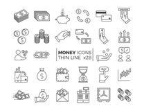 Geld en financiënpictogrammen Vector dunne lijnpictogrammen van verschillende economieonderwerpen - besparingen, salaris, betalin stock illustratie