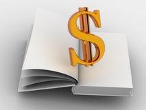 Geld en het boek. Stock Afbeeldingen