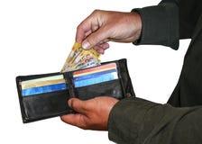Geld en kaarten in portefeuille Stock Foto's