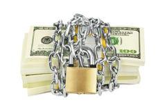 Geld en ketting stock afbeeldingen