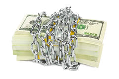 Geld en ketting stock foto's