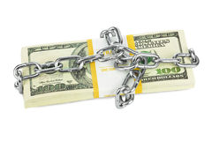 Geld en ketting stock foto