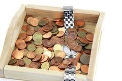 Geld en klok Royalty-vrije Stock Afbeelding