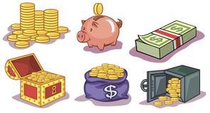 Geld en muntstukkenpictogrammen Royalty-vrije Stock Afbeeldingen