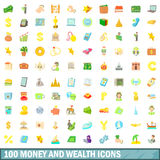 100 geld en rijkdom geplaatste pictogrammen, beeldverhaalstijl Stock Afbeelding