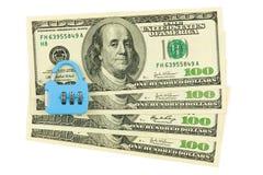 Geld en slot Royalty-vrije Stock Foto