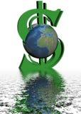 Geld en wereld. Stock Foto's