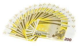 Geld 200 euro bankbiljet dat op witte achtergrond wordt geïsoleerd Royalty-vrije Stock Afbeeldingen