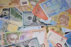 Geld euro, dollars hryvnia Royalty-vrije Stock Foto's