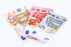 Geld, Euro geïsoleerde munt (EUR) rekeningen Royalty-vrije Stock Foto