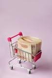 Geld für den Einkauf Lizenzfreies Stockfoto