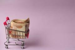 Geld für den Einkauf Lizenzfreie Stockfotos